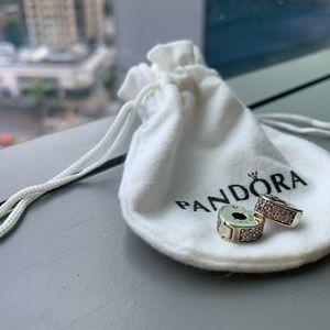 "Pandora Silver Heart Charm Set (2 ""Clips"")"